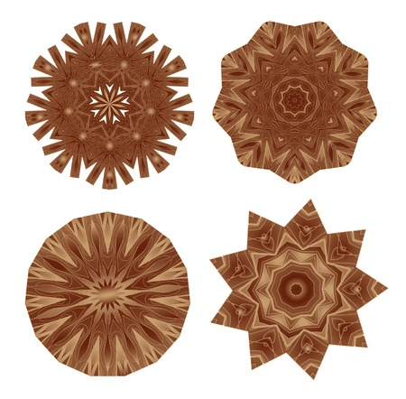 tile flooring: Set of Decorative wooden brown mosaic parquet covering of table
