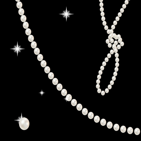 beads with large beautiful pink pearls romantic on black