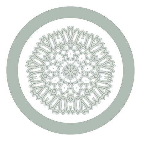 Lace floral white ethnic ornament kaleidoscope on white Vector