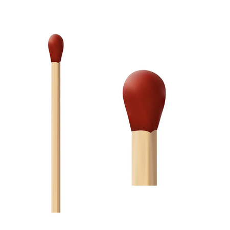 two wooden matches with red wick macro on a white background
