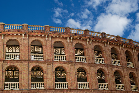 fronts: Historic  buildings with lace fronts of city Valencia  Spain  Amphitheatre Bullring