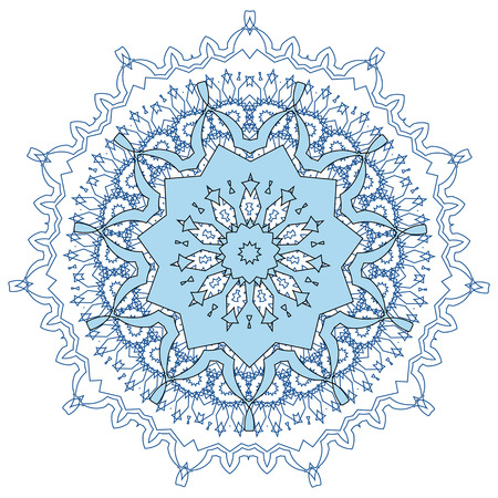 Lace  blue floral colorful ethnic ornament kaleidoscope Vector