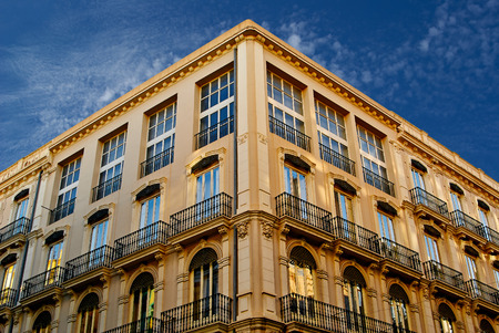Historic  buildings with lace fronts of city Valencia  Spain  architectural details