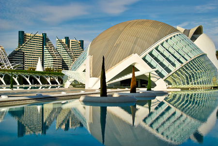 Modern  buildings with lace fronts of city Valencia  Spain  architectural details
