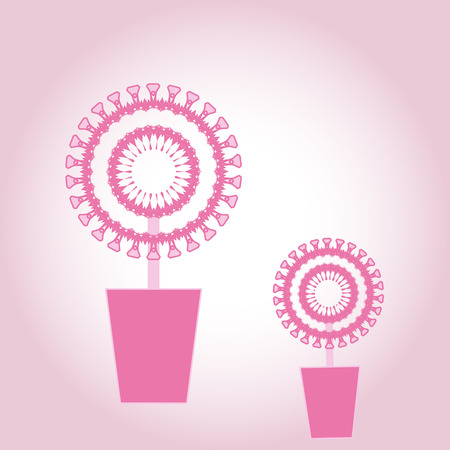 Pink spring festive flowers in pink pot for Valentine's day Vector