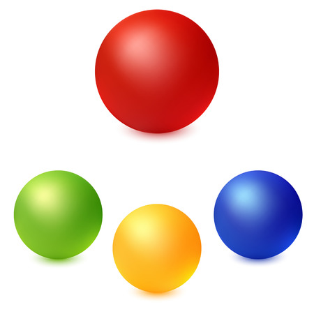 Collection of colorful glossy spheres isolated on white Vector