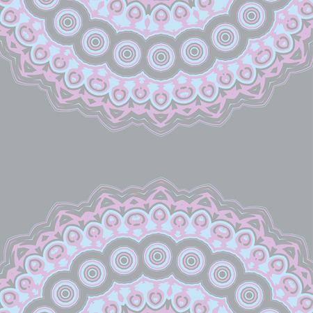 background illustration with blue, lilac, purple, ribbons and lace