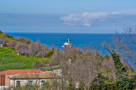 Great view from the top over the sea and the city of Ancona, Italy photo