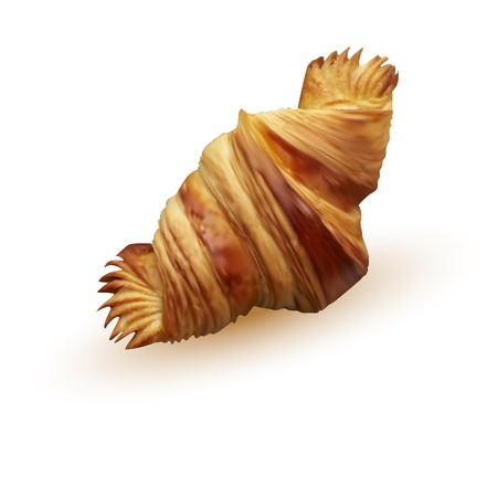 Fresh and tasty briosh Golden croissant over white background Illustration