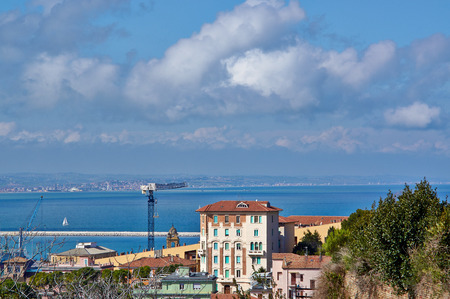 Great view from the top over the sea and the city of Ancona, Italy