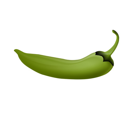 cayenne: Realistic picture of the Cayenne green pepper on white background