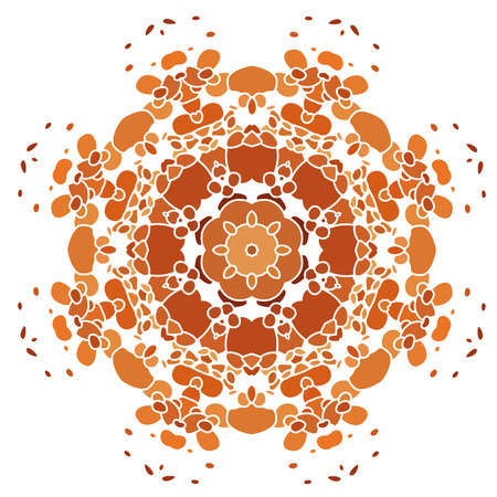 Lace  GOLD floral colorful ethnic ornament kaleidoscope Vector