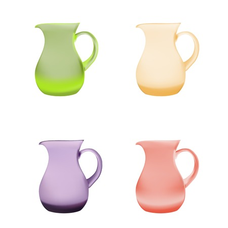 set of Illustration purple glass pitcher of juice on a white background