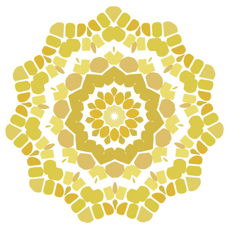Lace gold yellow floral colorful ethnic ornament kaleidoscope Vector