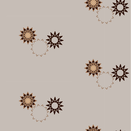 Lace gold brown floral colorful ethnic ornament seamless pattern Vector