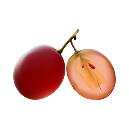 A whole and Half of the grapes with seeds on white background. Vitamins and healthy lifestyle.