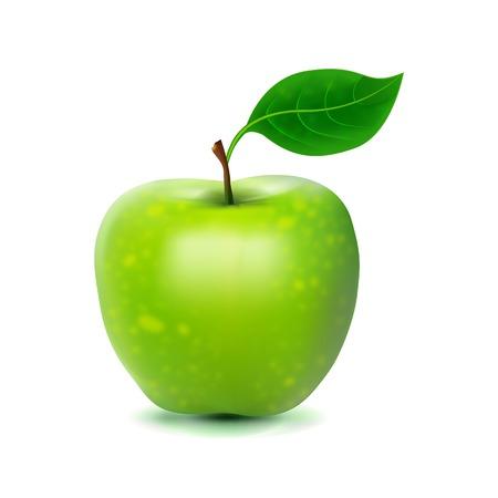 Photo-realistic image of green fresh apple