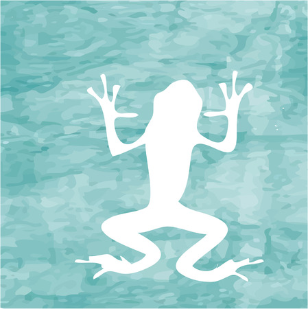 the art of divination: Abstract blue sea background with  large white frog