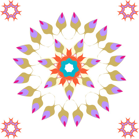 Lace  blue, azure, turquoise, aquamarine floral colorful ethnic ornament kaleidoscope Vector