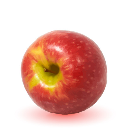 Large ripe red Apple with handle on white background