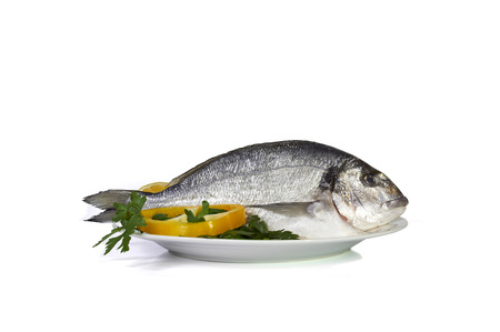 gutted: Large fish sea bream orata gutted on the preparation table Stock Photo