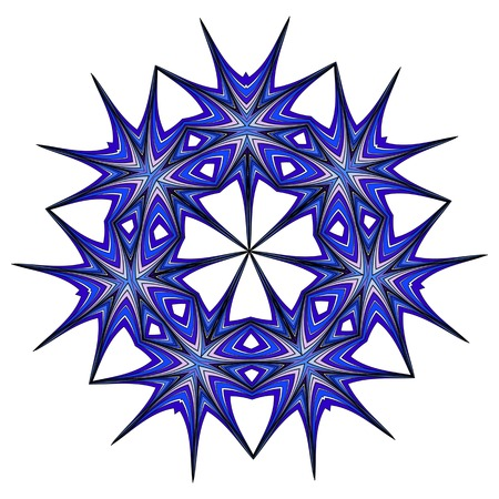 Abstract fashionable figure  blue, azure, turquoise, aquamarine floral colorful ethnic ornament kaleidoscope