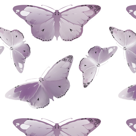 morpho: set Monarch Butterfly with open wings  top view seamless pattern Illustration