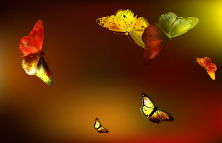 migrating: set Monarch Butterfly with open wings on Golden autumn background