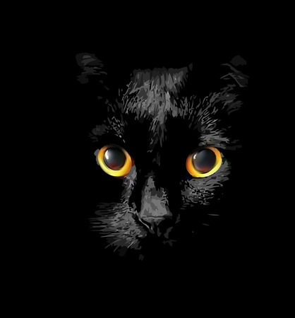 watchful: head of black cat with glowing Golden eyes Illustration