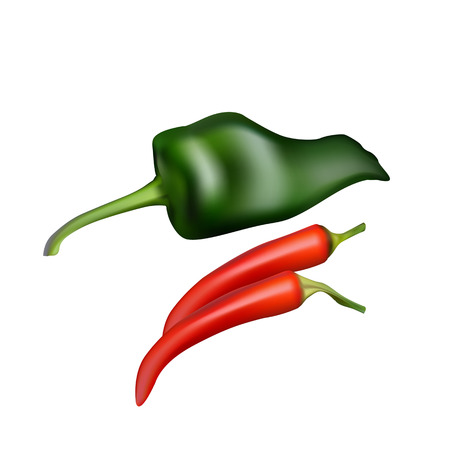 cayenne: set of Realistic picture Cayenne red pepper