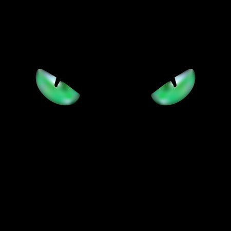 head of black cat with glowing green eyes