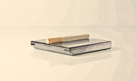 cigarette case: Cigarette closeup lies on cigarette case