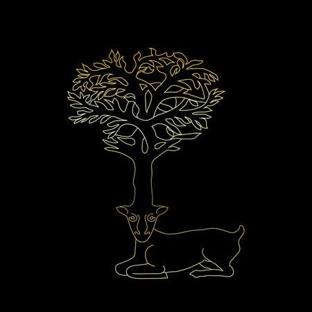 celtic symbol: Stylized decorative image deer with horns in form of Celtic symbol tree, gold on black