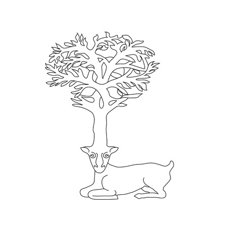 celtic symbol: Stylized decorative image deer with horns in form of Celtic symbol tree Illustration