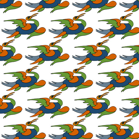 Seamless pattern with bright spring colors feathers of ancient birds Vector