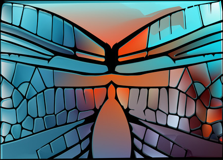 translucent: Stained glass with bright glowing glare Illustration