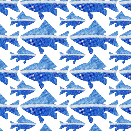 gzhel: seamless pattern to any surface with blue marine fish in Gzhel style