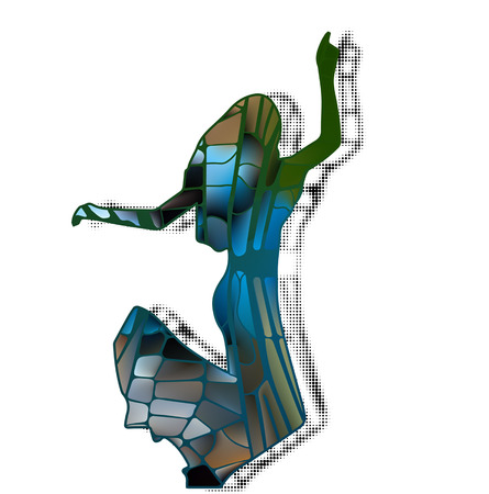 silhouette girl model in slinky dress different bright color fashion Illustration