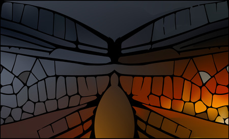 vetrate artistiche: Stained glass with bright glowing glare. Abstract mesh background Vettoriali