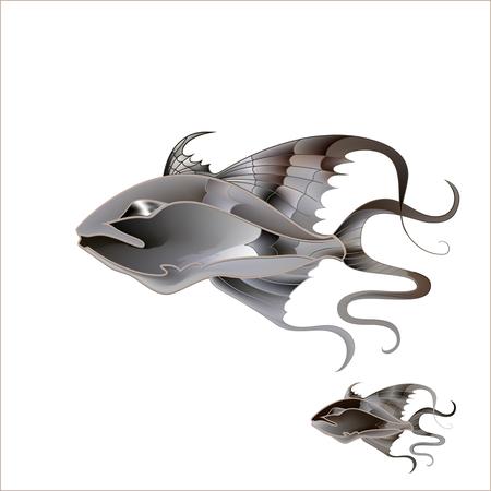 voile: Fabulous illustration of a fantastic marine fish delicate purple shades
