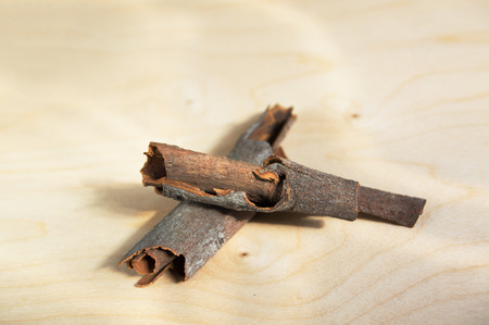 punch spice: ?loseup branch of cinnamon for cooking punch.  Strong Indian sweet flavor spice. Stock Photo