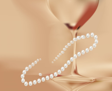 pearl necklace: Gold blurred background with glass of wine and pearl necklace