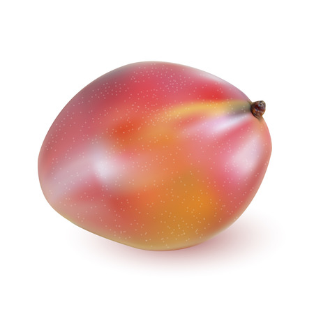mango slice: Red ripe mango closeup on a wooden surface.