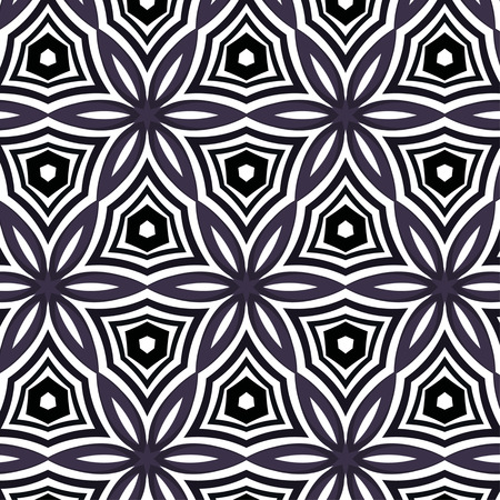 Purple floral pattern with abstract geometric ornament