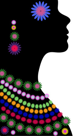 earrings: Black female silhouette in profile. Colourful ethnic beads and earrings Illustration