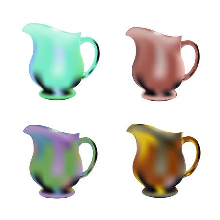 soft drinks: set of round transparent glass jug for juice, lemonade and all soft drinks Illustration