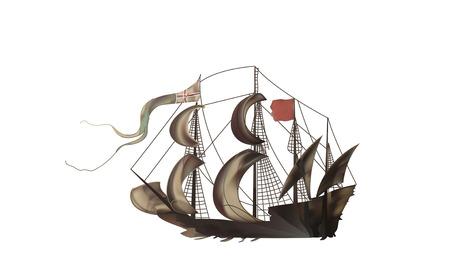 frigate: Vintage illustration of a medieval sailing frigate brown color