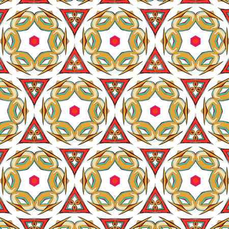 fifties: bright pattern in the style of the fifties, colorful kaleidoscope of red, orange and neon Illustration