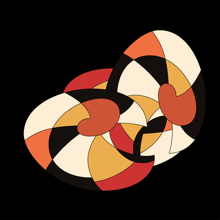 fifties: bright pattern in the style of the fifties, colorful kaleidoscope of red and orange