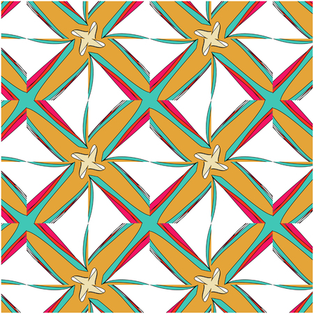 fabric art: bright pattern in the style of the fifties, colorful kaleidoscope of red, orange and neon Illustration